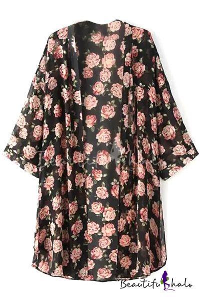 Black Collarless Rose Print Half Sleeve Kimono ($14) (Really want!)