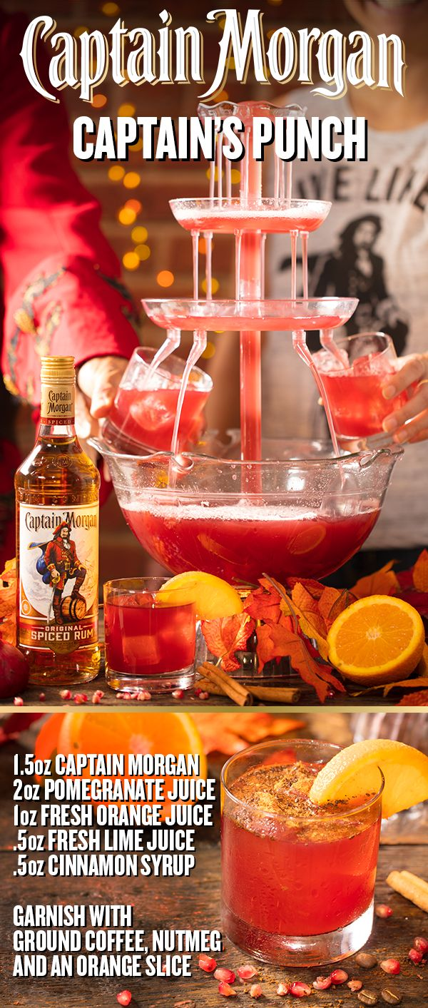 Hosting during the holidays can be made easy with one delicious recipe. Mix up the Captain's Punch by filling a drink dispenser with crushed ice, 1.5 oz Captain Morgan Original Spiced Rum, 2 oz pomegranate juice, 1 oz orange juice, 0.5 oz lime juice, and 0.5 oz cinnamon syrup. Stir to combine, then garnish each glass with an orange slice sprinkled with coffee and nutmeg. When family travels far to feast, you best have a Captain's concoction worth sharing.