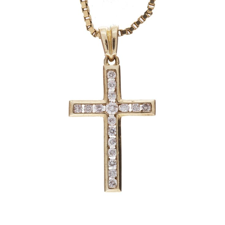 Lovely 10K yellow gold diamond cross pendant. Made beautifully with 17 sparkling round diamonds and a high polish finish. Can be worn everyday or with your favorite outfit, the choice is yours!