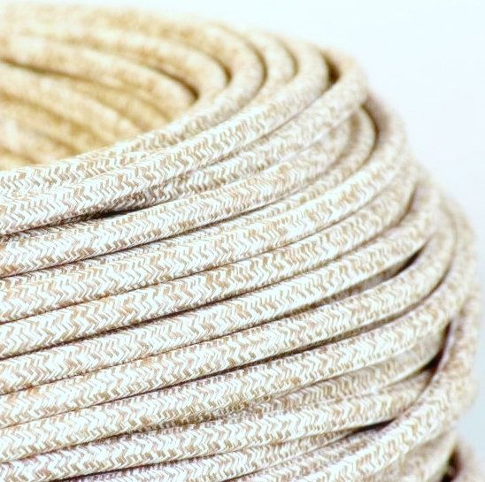 Fabric Textile Cable Wire For Lighting Round 2x0.75 In Natural Hemp