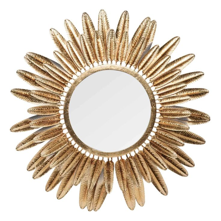 Miroir rond à plumes en métal doré D.77cm PLUMA