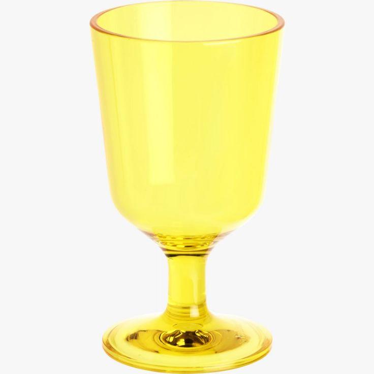 Muovinen SADIE-viinilasi #keltainen #kesä #puisto #vappu #lasi #habitat