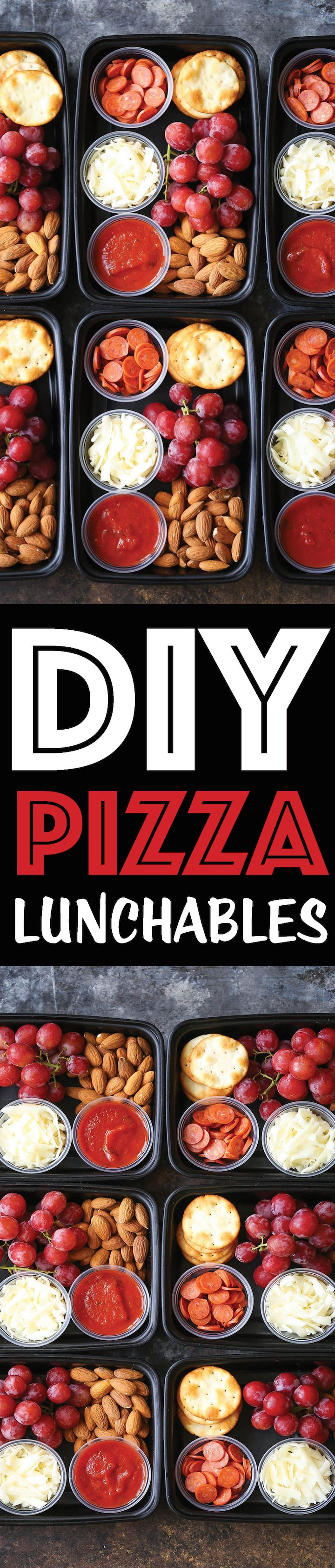 DIY Pizza Lunchables -- this is so much better, tastier and healthier than the store-bought kind! Prep/make ahead of time for the week in just 10-15 min!