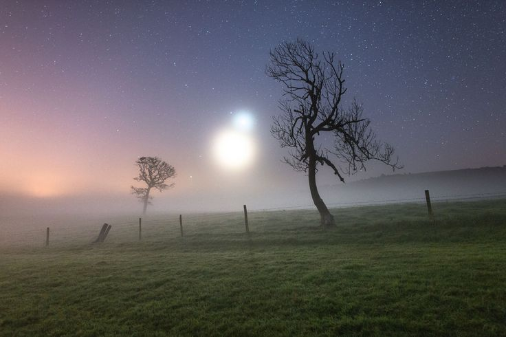 Winner of 'Scyscapes category'. A misty October morning on the British Isle of Weight. The blurry weather helps to reinforce the brightness of Venus and the Moon, causing them to appear as glowing fireballs of morning mist. Photo: Ainsley Bennett.