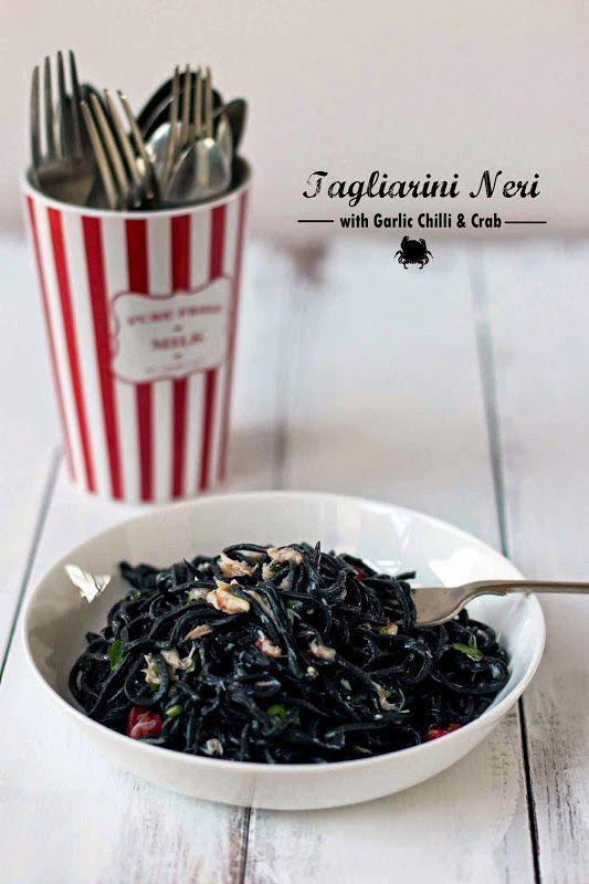 Milk and Honey: Tagliarini Neri with Garlic Chilli and Crab