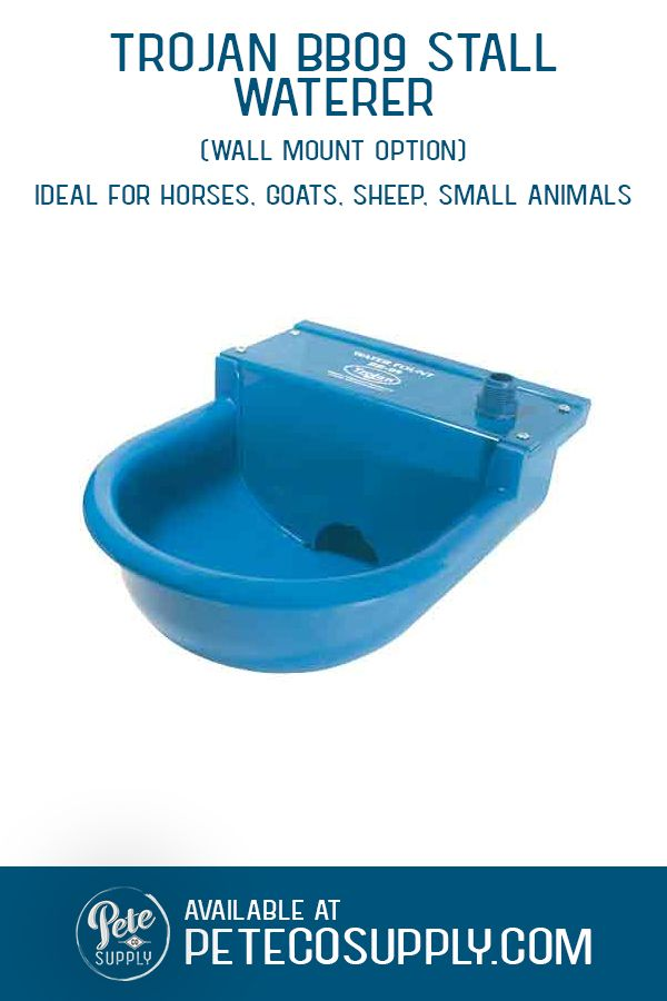 The Trojan BB09 Waterer is an ideal automatic waterer for dogs, small animals, cattle, goats, sheep and horses. Featuring the Ritchie 1/2 water valve for reliable refill. Quick connect with hose attachment.  Mount directly to a wall.  Cannot be heated - for outdoor use during warm weather or in a heated barn.  #horsewaterer #dogwaterer #sheepwaterer #goatwaterer #automaticwaterer