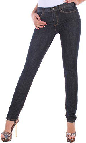 93335e5ea128f1 BD Damen Jeans Röhre Stretch Jeanshose Röhrenjeans in Dunkelblau bis  Übergröße Slim 36/S
