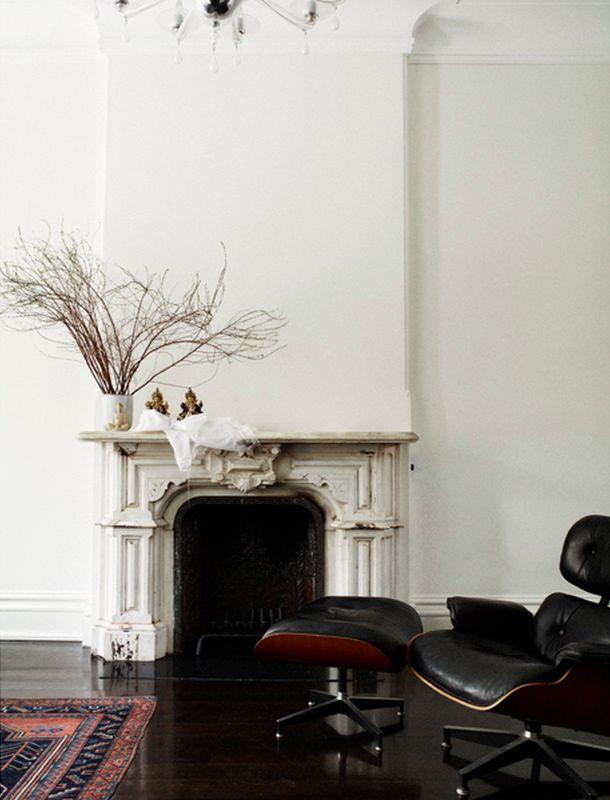 Sanctuary: Monochrome #fireplace #leather #white #black