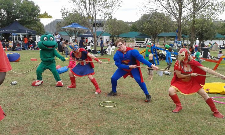 Dress up tug of war! Dress up and have a tug of war! Divide your children or family up into teams. Dressing up as your favourite super hero or Jog the Frog can make it even more exciting and bring out your little ones creativity. This is a great party game to play.