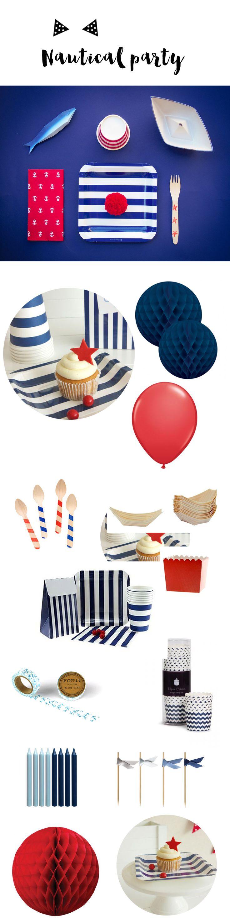 Vaisselle et accessoires de décoration pour un anniversaire sur un thème marin, à retrouver sur www.rosecaramelle.fr #nautical #marin #fete #party #nauticalparty #anniversaire #vaisselle #deco #kids #rayures #mariniere #marine #decoration