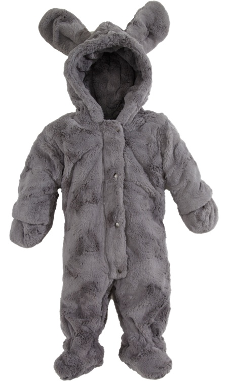 Lili Gaufrette Zip Front Hooded Faux Fur Snowsuit with Ears Sale up