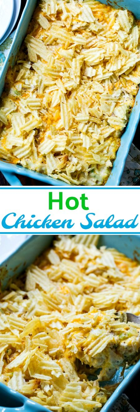 Hot Chicken Salad with a crunchy potato chip topping.