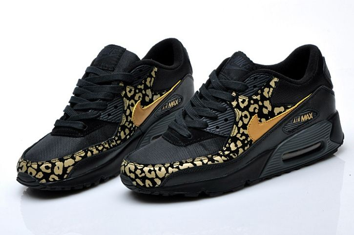 NIKE WOMENS AIR MAX 90 BLACK GOLD LEOPARD 325213 023 $185 ...