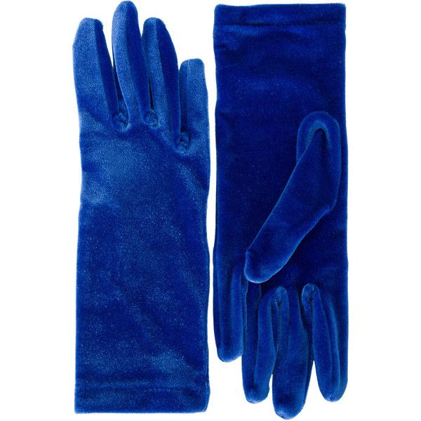 Balenciaga Classic velvet gloves ($185) ❤ liked on Polyvore featuring accessories, gloves, velvet, blue, vintage gloves, velvet glove, blue gloves and balenciaga