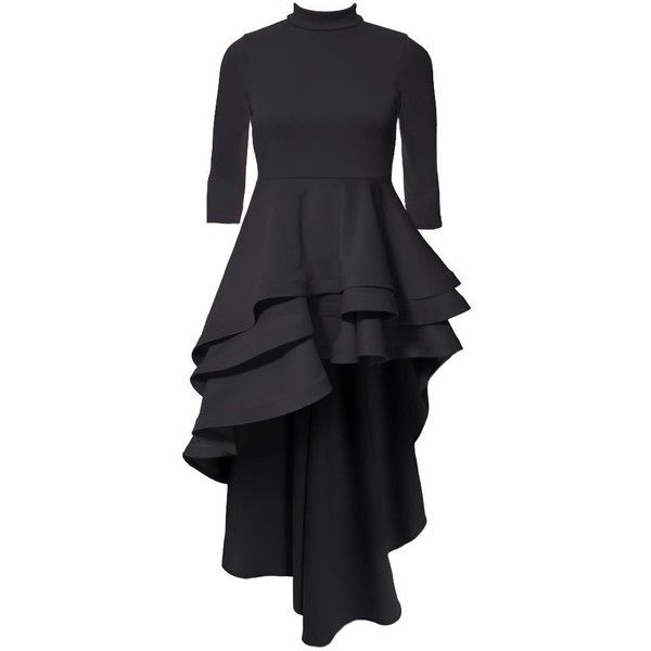 Plus Size Ruffle Front Mock Neck Dress, Black ($76) ❤ liked on Polyvore featuring dresses, plus size dresses, fitted tops, sexy plus size cocktail dresses, hi low dress and plus size cocktail dresses