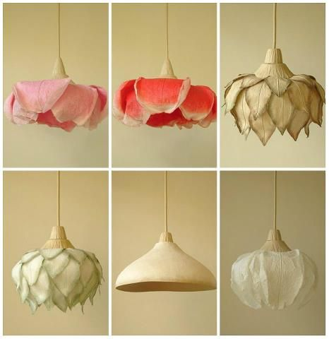 felted flower lampshades.