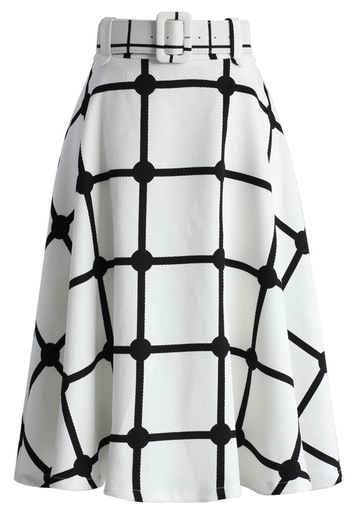 Sway the Plaids Belted Midi Skirt in White - New Arrivals - Retro, Indie and Unique Fashion