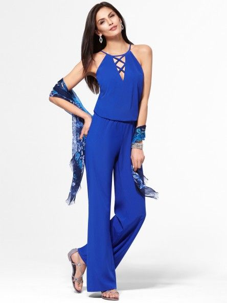 Blue Woven Lace-Up Jumpsuit #CacheStyle