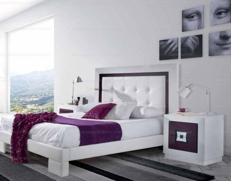 Dormitorio de matrimonio Winter, acabado lacado blanco y polipiel.