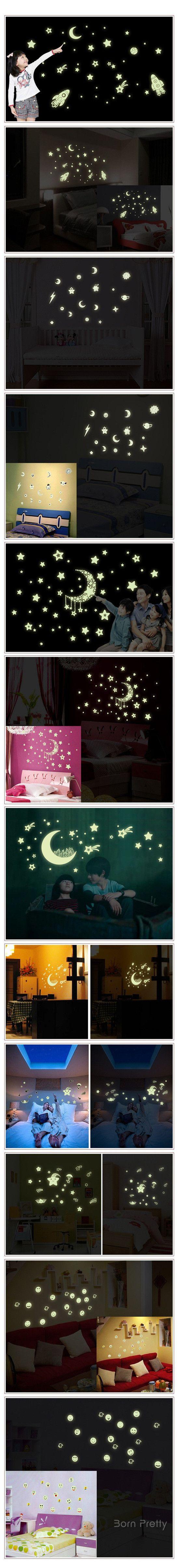 $ 3.94 sonriente cara de la estrella de la luna de habitaciones Tatuajes de pared luminosa etiquetas engomadas desprendibles de la decoración del hogar mural DIY - BornPrettyStore.com