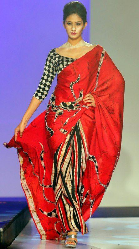 Modern Sri Lankan Batik Saree by Buddhi Batik