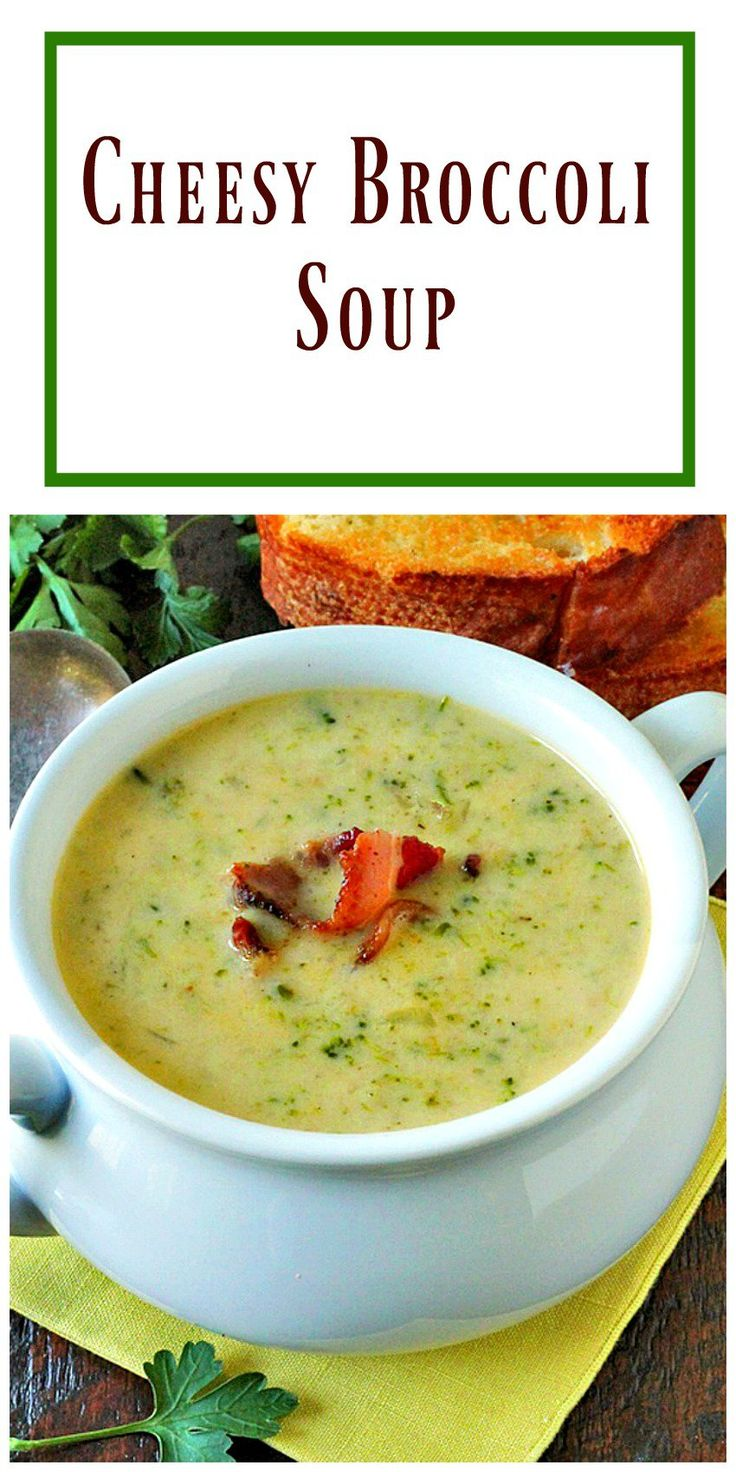 Cheesy Broccoli Soup is filled with broccoli and real grated cheddar cheese with a touch of cream added to make it luscious.  via @https://www.pinterest.com/BunnysWarmOven/bunnys-warm-oven/