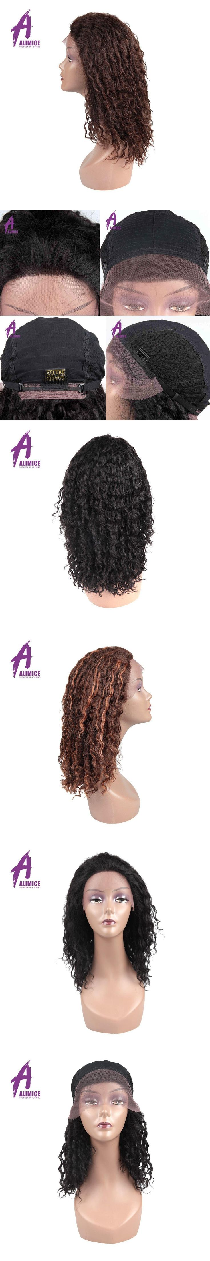 """Alimice Human Hair Lace Frontal Wig Brazilian Curly Hair Wig 1.5""""x11"""" Lace Color 2/1B and Color 4/30 Available Non Remy Hair Wig"""
