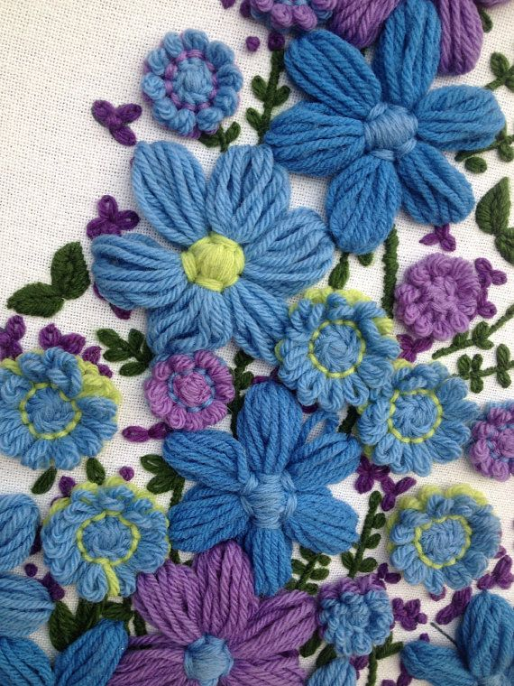Gorgeous Purple - Blue - Green / CREWEL Embroidery Wall hanging - Tree / Flowers on Etsy, $32.95