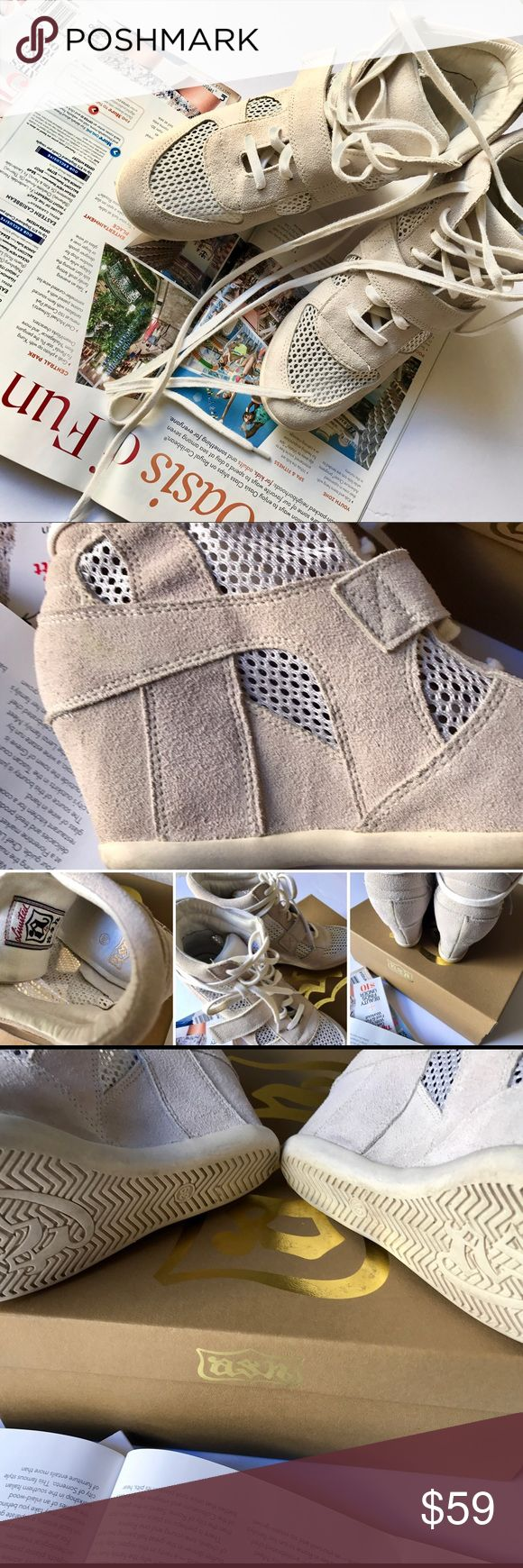 """Ash Bowie Mesh/Suede Sneaker * Ash suede sneaker heel * 4 3/4"""" wedge heel; 1/2"""" pump * lace up front with a strap * beige/of white * lace up front with a strap * round toe * manmade sole * in mint condition ( like a new) * perfect for spring/ summer Ash Shoes Sneakers"""