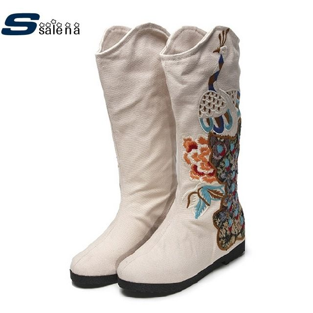 Fair price Women Knee Boots Women Embroidered Shoes Retro National Wind Embroidered Lady Winter Boots  B2637 just only $32.26 with free shipping worldwide  #womenshoes Plese click on picture to see our special price for you