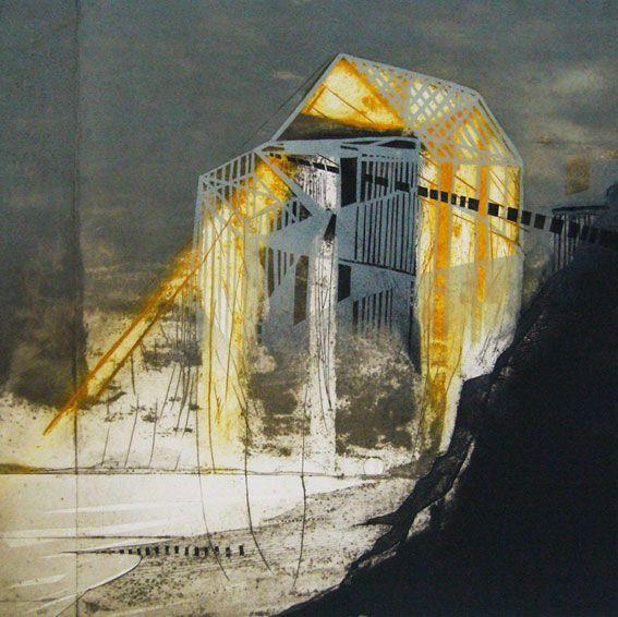 Katherine Jones - The Vanishing Land collagraph and block print.