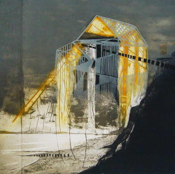 Katherine Jones - The Vanishing Land This is a collagraph and block print that I love. It is 50 x 50cm