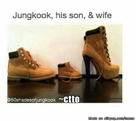 So you're saying this photo is JUNGKOOK, our son, and me? <3 lol Kookie luvs his Timberlands x3