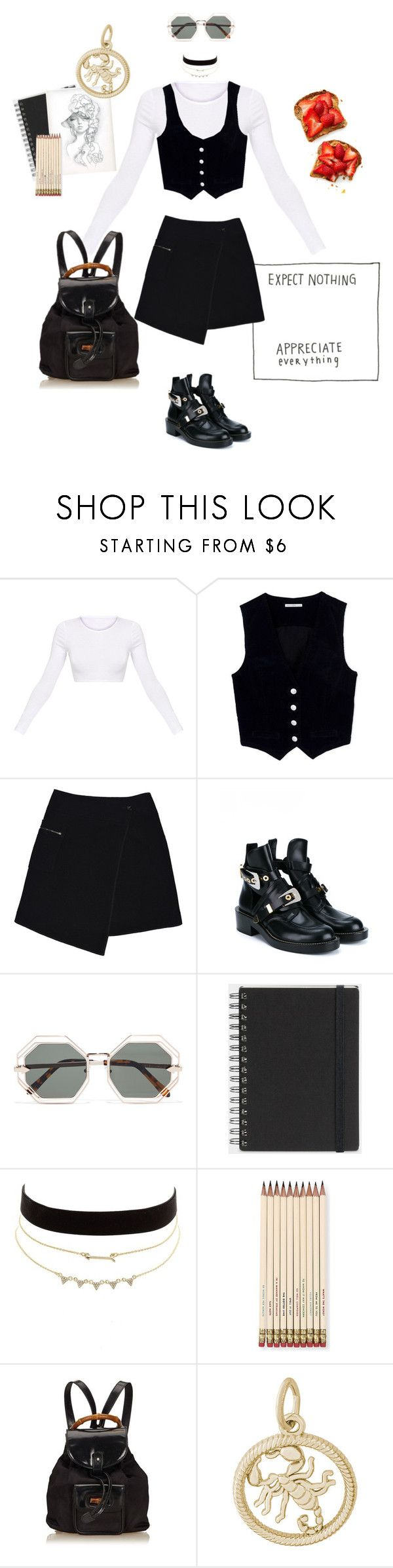 """""""Forever Late (Art School #3)"""" by aurora-cristaux ❤ liked on Polyvore featuring AG Adriano Goldschmied, MARC CAIN, Balenciaga, Karen Walker, Muji, Charlotte Russe, Kate Spade, Gucci and Rembrandt Charms"""