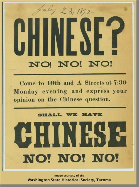 "Broadside calling for a meeting of Tacoma citizens on the ""Chinese question,"" probably concerning the U.S. Chinese Exclusion Act of 1882, due to expire in 1892. (July 23, 1892 written in pencil)"