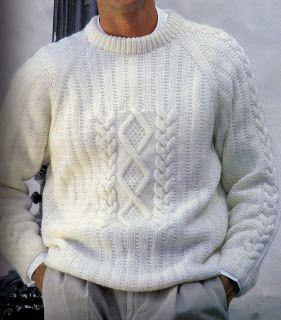 Hombre suéter con rombos y trenzas - free pattern