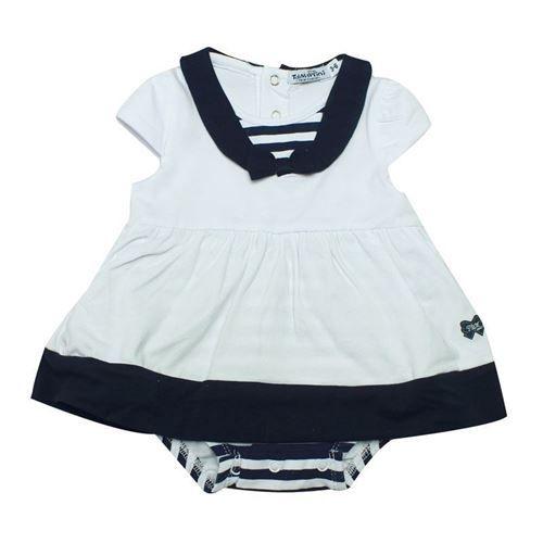 """Elegante pagliaccetto per neonata, motivo vestitino, con coulotte inserita, in fresco tessuto tricot con inserti e decori """"marinaretta, bottoncini posteriori e al fondo, TDM Mini. Composizione: 95% cotone 5% elastam- Colore:bianco/blu notte"""