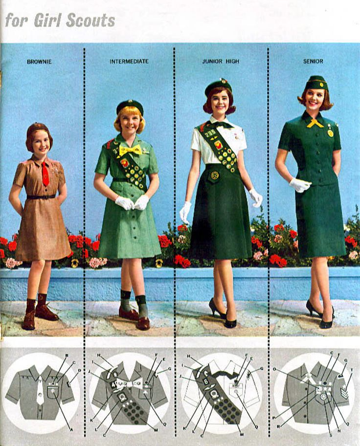 scouting; my brownie and jr girl scout outfits never looked like that.lol