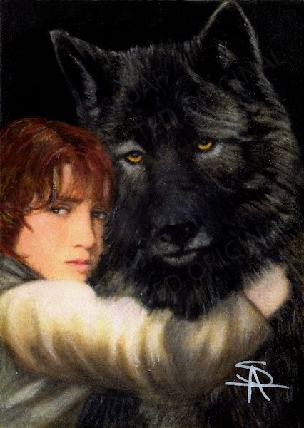 Original portrait of Rickon Stark and Direwolf Shaggy Dog Game of Thrones by Antoinette Sajaf