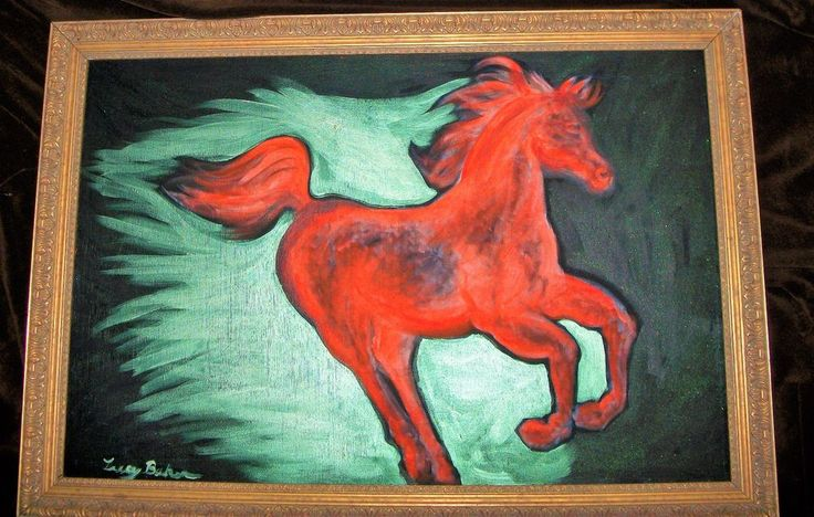 "Painting,""Running Red Horse"",by Lucy Baker,1992,Acrylic on Linen,24""x36""unframed #Fauvism"
