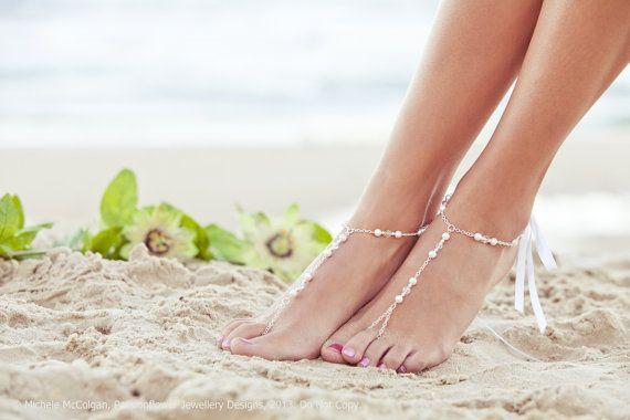 Bridal foot jewelry, barefoot sandal, beaded feet jewelry, soleless sandals, beach wedding shoe, sandals, bridal anklet. GEORGIA White