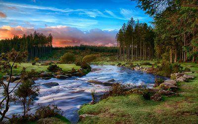 Scarica sfondi verdi colline, sud ovest dell'inghilterra, fiume, parco nazionale, sunset, devon, sera, costa, foresta, dartmoor