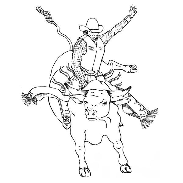 468 best cowboy pioneer and western images on pinterest for Bucking bull coloring pages