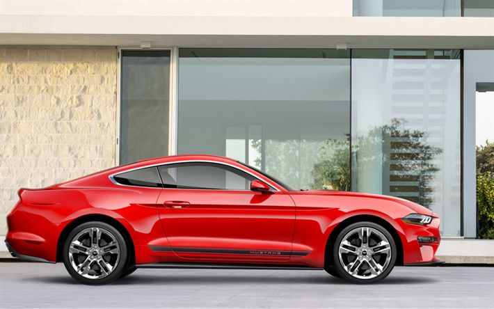Download wallpapers Ford Mustang, 2018, 4k, side view, red sports coupe, exterior, new cars, red Mustang, American cars, Ford