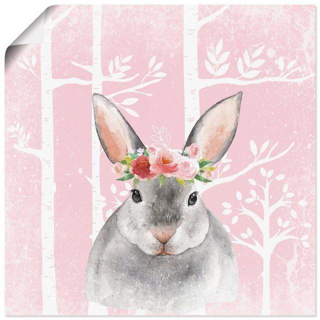 Kunstdruck Poster »UtArt: Hase mit Blumen im Wald Illustration«