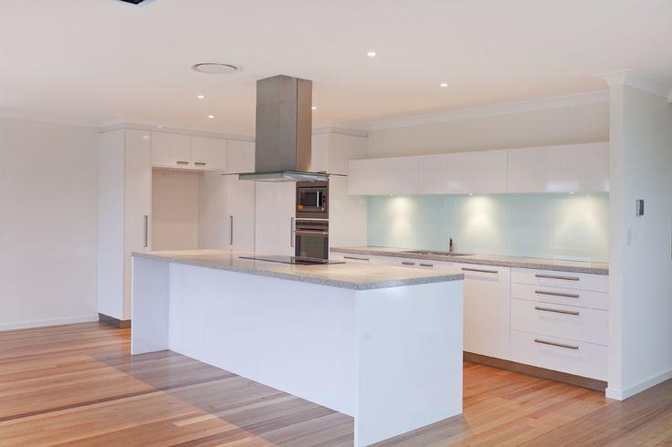 White kitchen with medium grey bench top