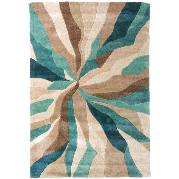 Superior Nebula Rug In Beige, Teal Blue And Brown ❤ Liked On Polyvore Featuring Home,
