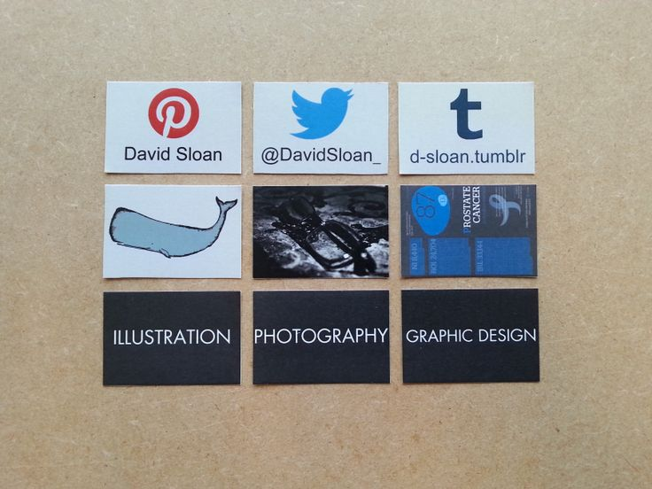 These are the small cards which will be inside my matchbox. They have my social network account names and others have examples of my work on them