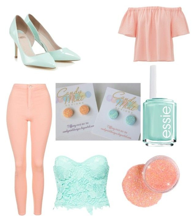 """""""peach and mint"""" by tiffany-facebook on Polyvore featuring Rebecca Taylor, Topshop, Club L, Lipsy and Essie"""