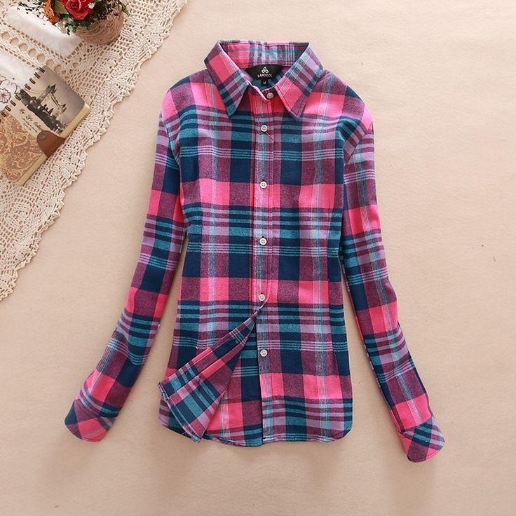 Women gingham shirting plaid long blouses vintage long sleeve Ladies shirts casual top Blusas Femininas European Style clothing